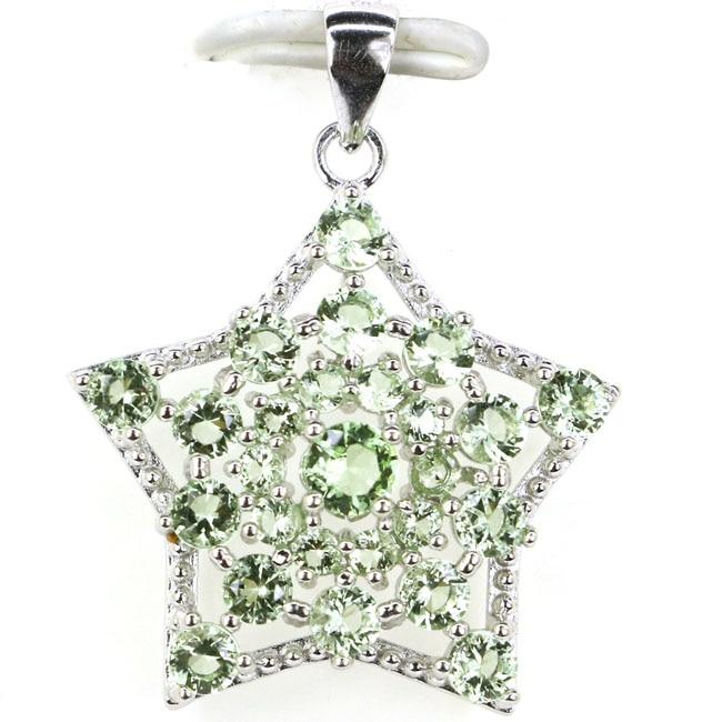Classic Star Shape Green Tsavorite Garnet CZ SheCrown Woman's Gift Silver Pendant 30x23mm