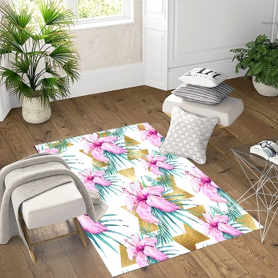 Else Pink Flower Green Leaves Gold Triangle 3d Print Non Slip Microfiber Living Room Decorative Modern Washable Area Rug Mat