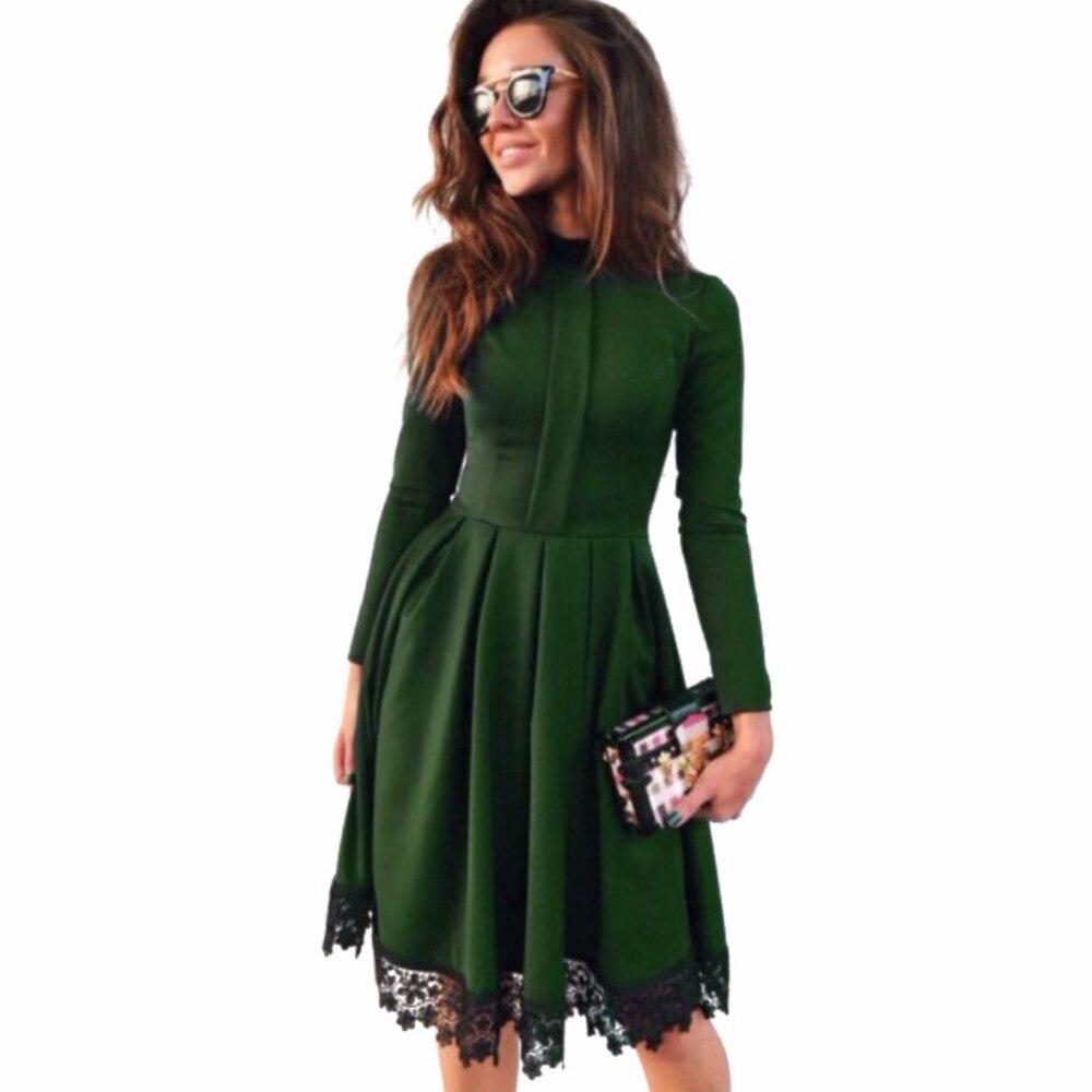 9d5a7c612b0e 2018 New Fashion Spring Summer Women Dress Casual Long Sleeve Dress ...