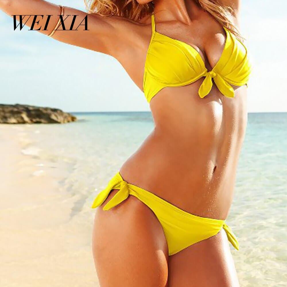 WEIXIA 2018 Sexy Bikini Women Swimsuit Push Up Swimwear WX3 Cross Bandage Halter Bikini Set Beach Bathing Suit Swim Wear  1