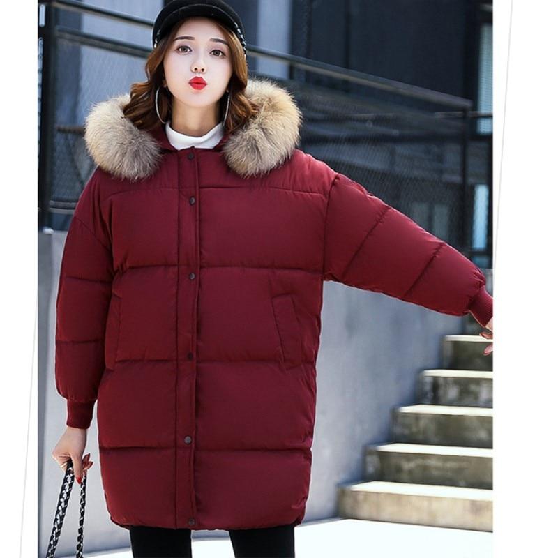 Winter Women Hooded Coat Fur Collar Thicken Warm Long Jacket Female Plus Size Outerwear Parka Ladies