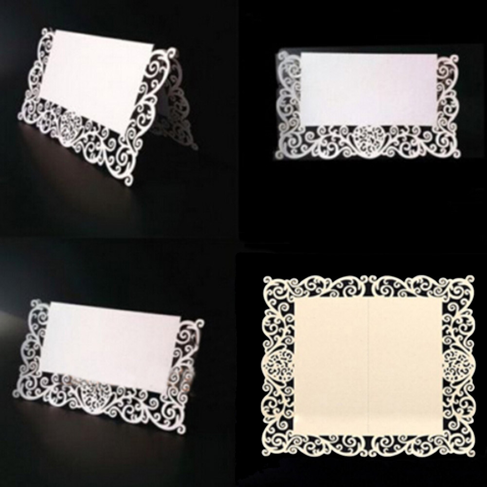 50Pcs Lace Name Place Cards Wedding Party Table Pearlescent Decor Table Name Message Beige White Greeting Card New Arrival