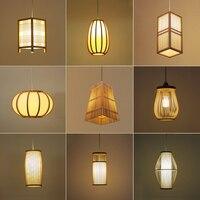 Modern Chinese Style Bamboo Weave Pendant Lights Japanese Restaurant Decor Cafe E27 wood Pendant Lamps illumination