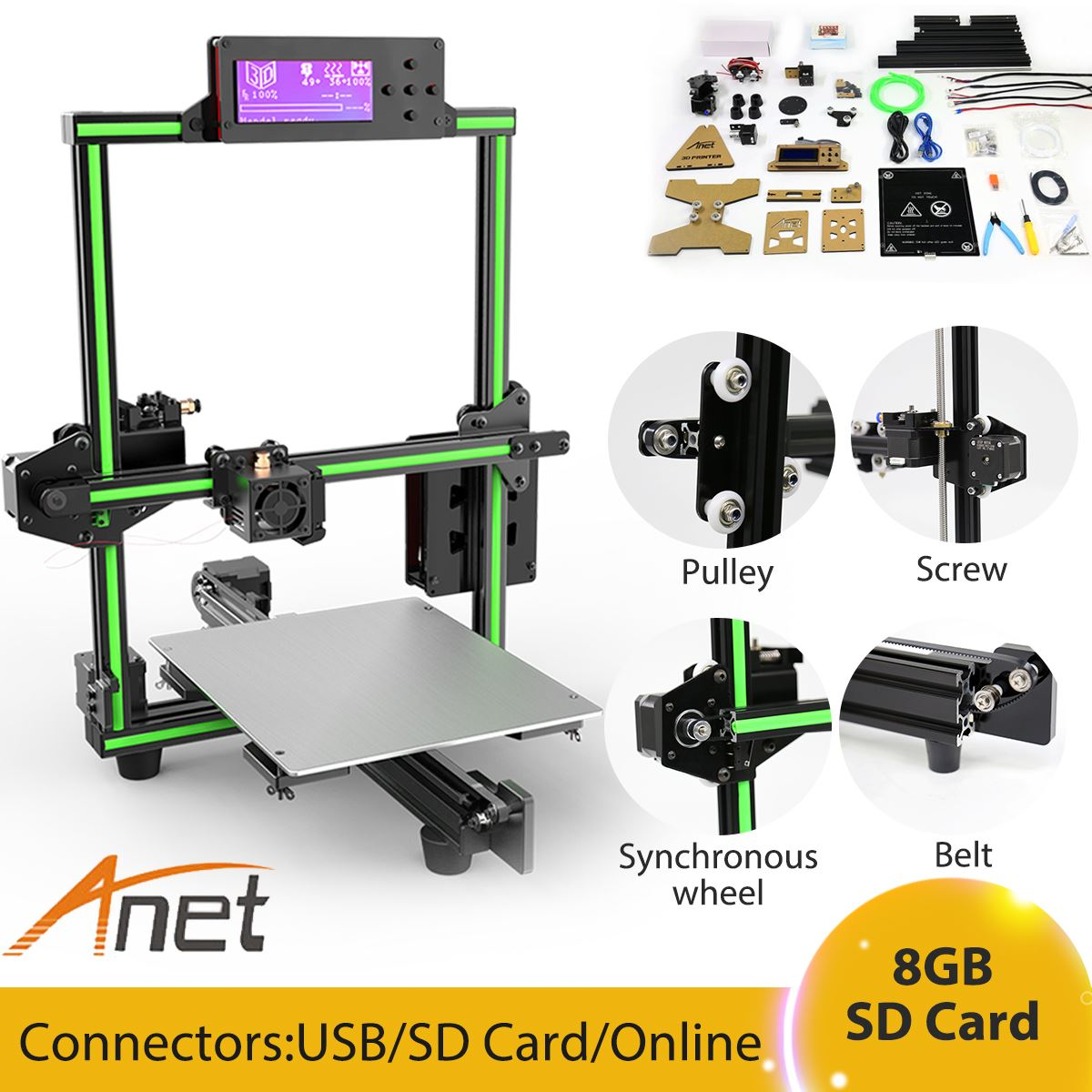Anet E2 3D Printer Kit Big Printed Size DIY Delta LCD With PLA Filament With 8GB Sd Card EU/UK Plug цена