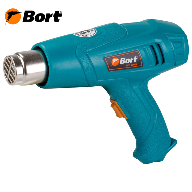 Фен технический BORT BHG-2000X (Мощность 2000 Вт, 2 режима работы, расход воздуха 300/500 л/мин, температура 350/600 °С , защита от перегрева)