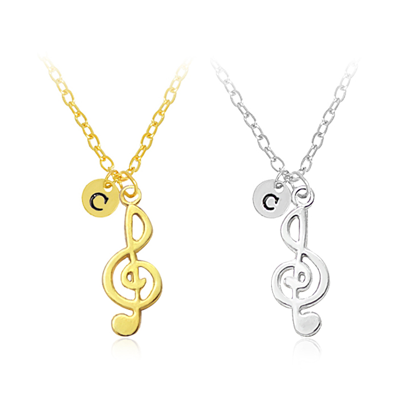 Music Notes With 26 Letters Pendant Necklace Charm Music Symbols