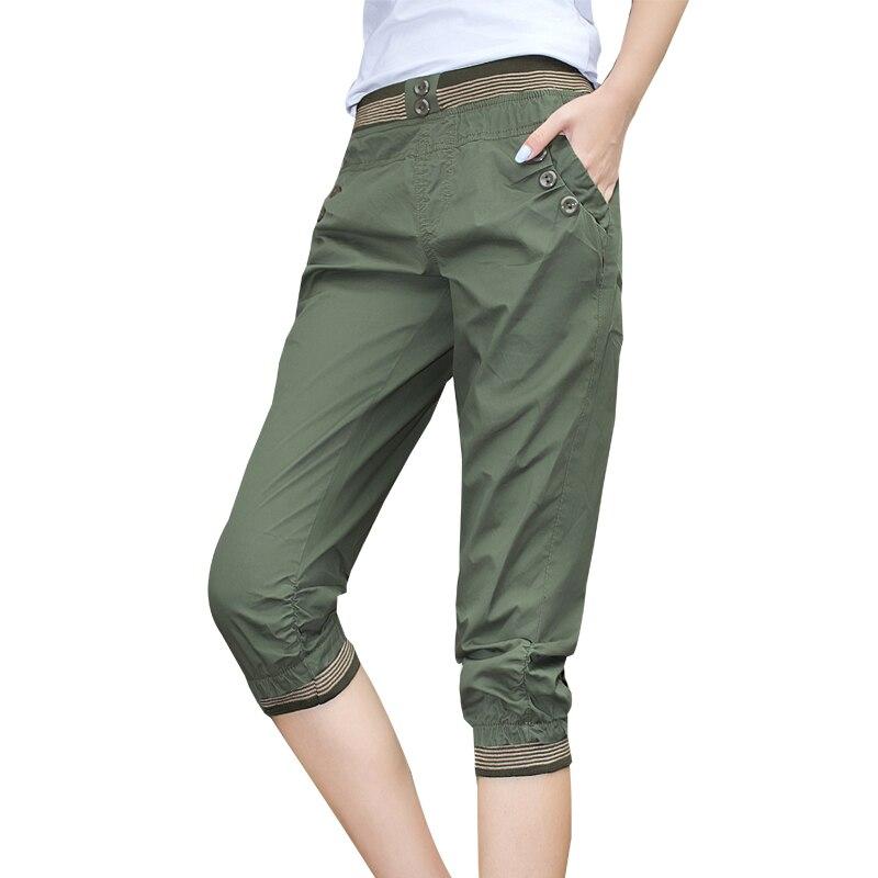 2018 New Fashion Summer Women Casual Harem   Pants   Female Mid Waist Long Seven Short   Capris   Trouser Plus Size 5XL F212