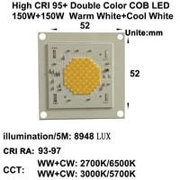 MARSWALLED High CRI RA 95+ High Power Density 150W+150W Two Channel CCT Tunable COB LED Warm White + Cool White DC38.5V 3.7A