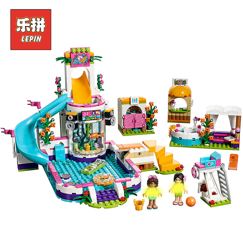 Lepin 01013 Friends Heartlake Summer Swimming pool 41313 Model Building Blocks Legoings Girl Toys Bricks DIY Children Toys Gift 589pcs diy girl friends the heartlake summer pool compatible with legoing figures building blocks bricks toys for children kid