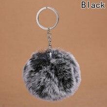 New Arrival Fluffy Rabbit Ear Fur Ball Key Chain Rings Pendant Cute Pompom Artificial Rabbit Fur Keychain Women Car Bag Key Ring