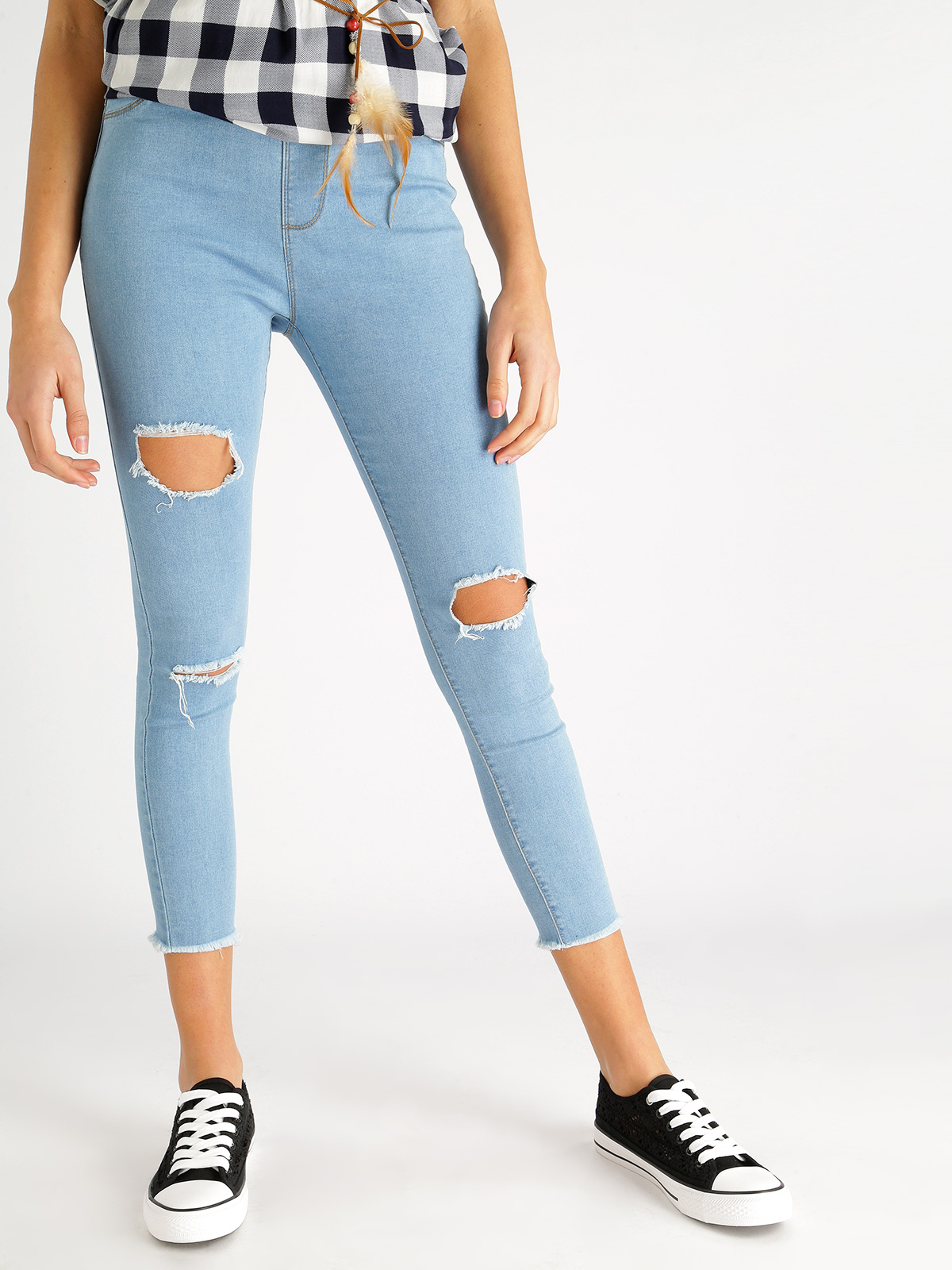Jeggings Ripped Fringed