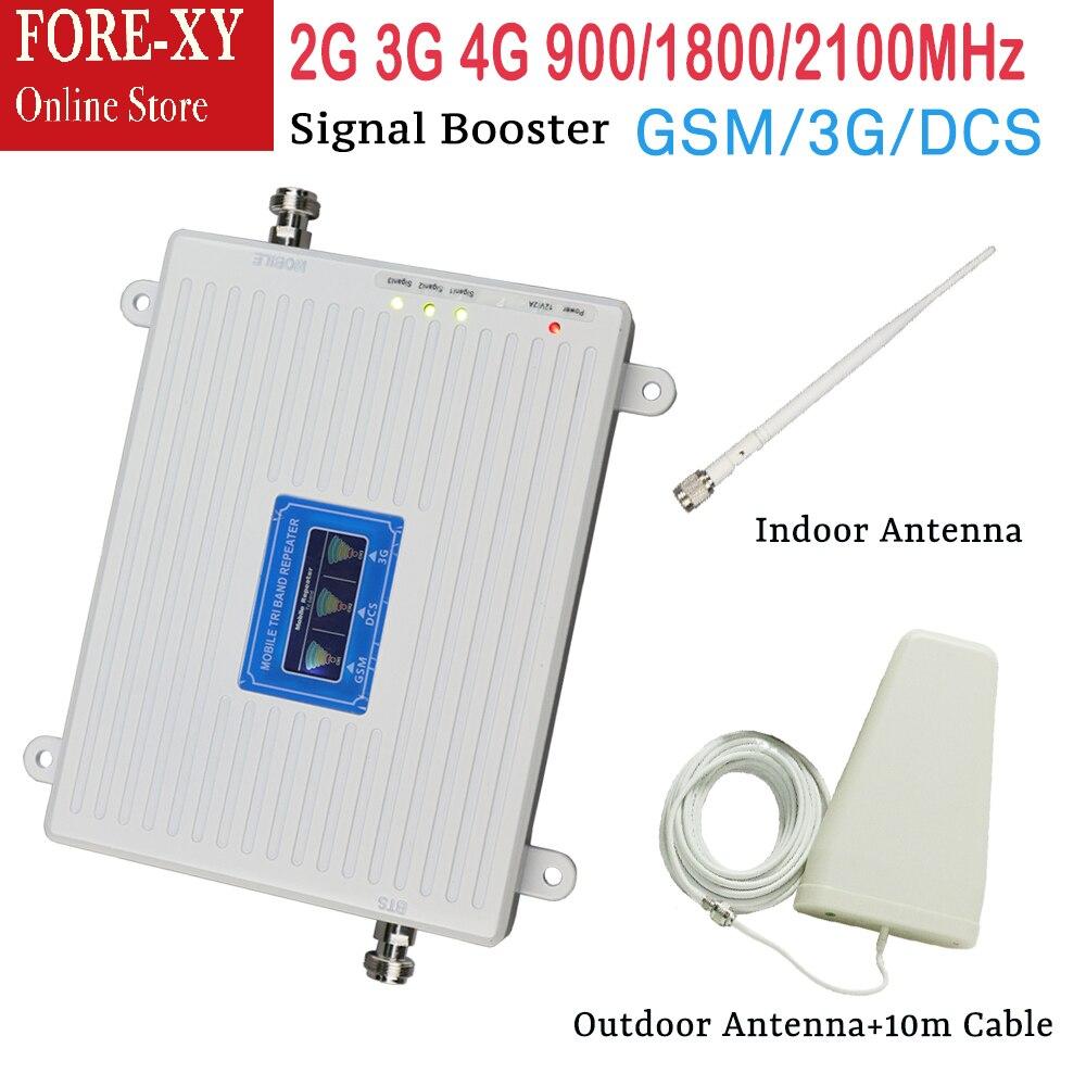 Ensemble complet 900 1800 2100 Mhz tri bande 2g 3g 4g répéteur répéteur amplificateur de signal de téléphone portable avec antenne extérieure intérieure