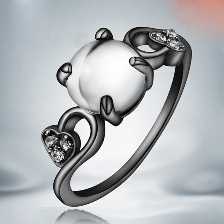 Лидер продаж Размеры 6-8 Элегантная дама Опал Мозаика Циркон Черное золото Покрытие кольца ювелирные изделия подарок