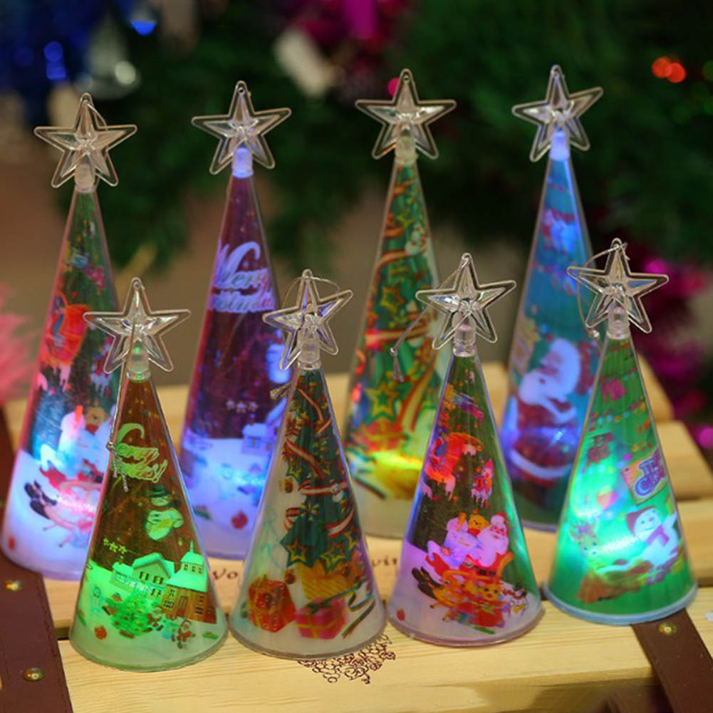 1pc Plastic Christmas Tree LED Colorful Lights Home Holiday Decor Christmas Lamp For Holidays Accessories Size S,L Random Color ...