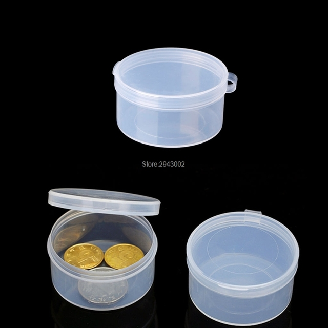 Round Clear Plastic Containers Beads Crafts Jewelry Display Storage