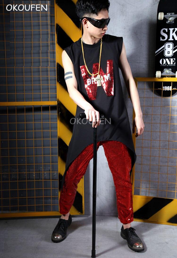 Homme noir T shirt Costumes rouge Sequin gilet scène costume rouge bling pantalon Bar chanteur DJ scène costume costumes spectacle performance porter