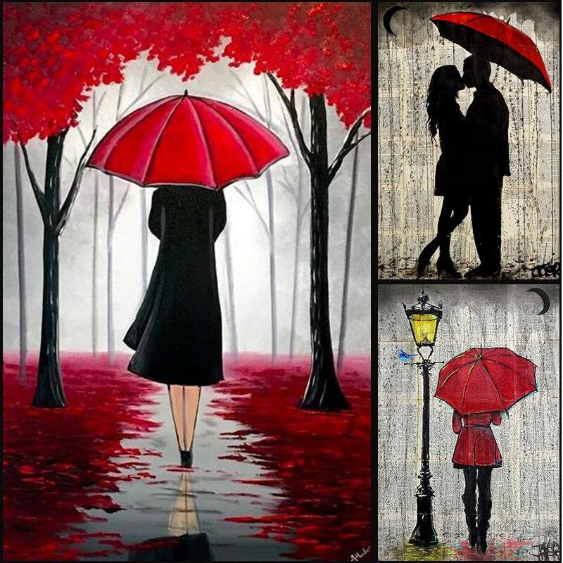 Масло девушка под зонтик уличные сверла пейзаж 5D diy Вышивка Узор бриллиантовые рисунки Рукоделие 3d вышивки крестом наборы украшения для ком...