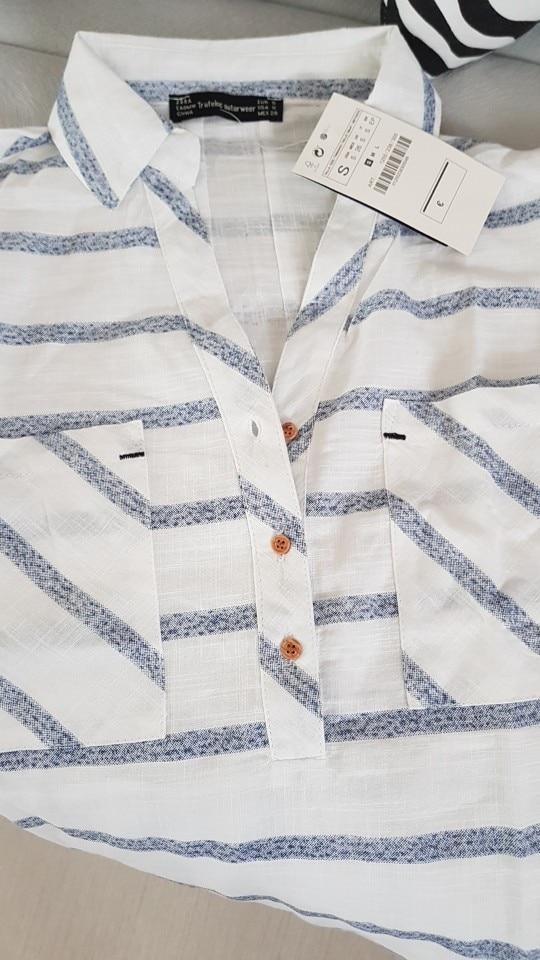 GCAROL 2019 New Prairie Chic Style Women Striped Oversize Blouse Two Pockets Fashion Casual Asymmetric Tops OL Long Shirt