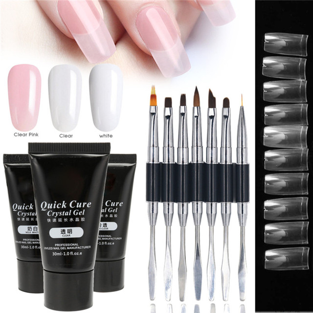 Acrylic French Nail Tool Kit 30ml Quick Building Uv Gel Hard Crystal Jelly Nails Extension Tips