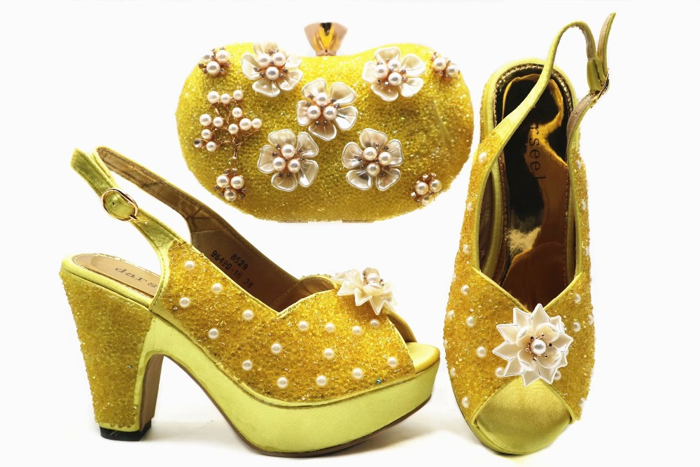 Shinning flower nice shoes and clutches bag high heel 4 inches african aso ebi bright yellow shoes and bag italy design SB8282-1Shinning flower nice shoes and clutches bag high heel 4 inches african aso ebi bright yellow shoes and bag italy design SB8282-1