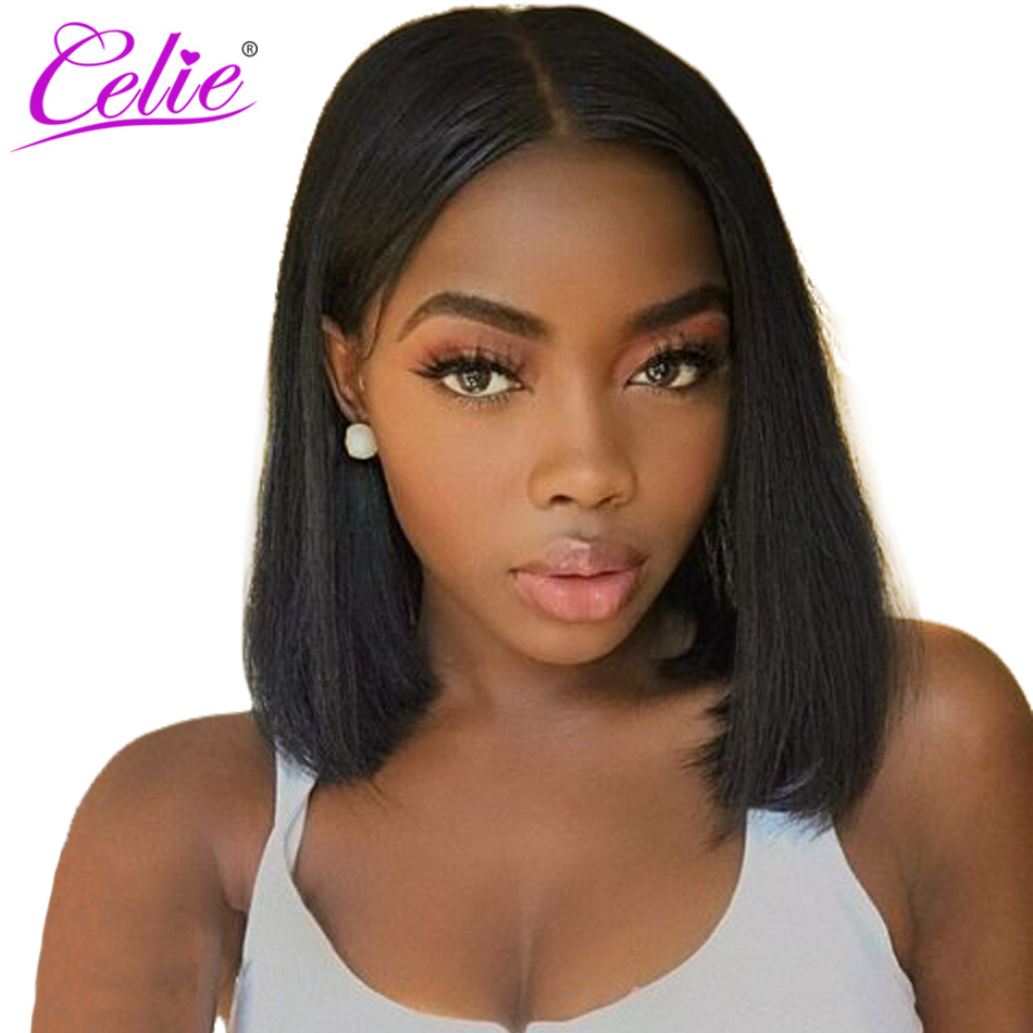 Celie Hair Short Bob Lace Front Wigs For Black Women Remy 13x4 Straight Lace Front Human