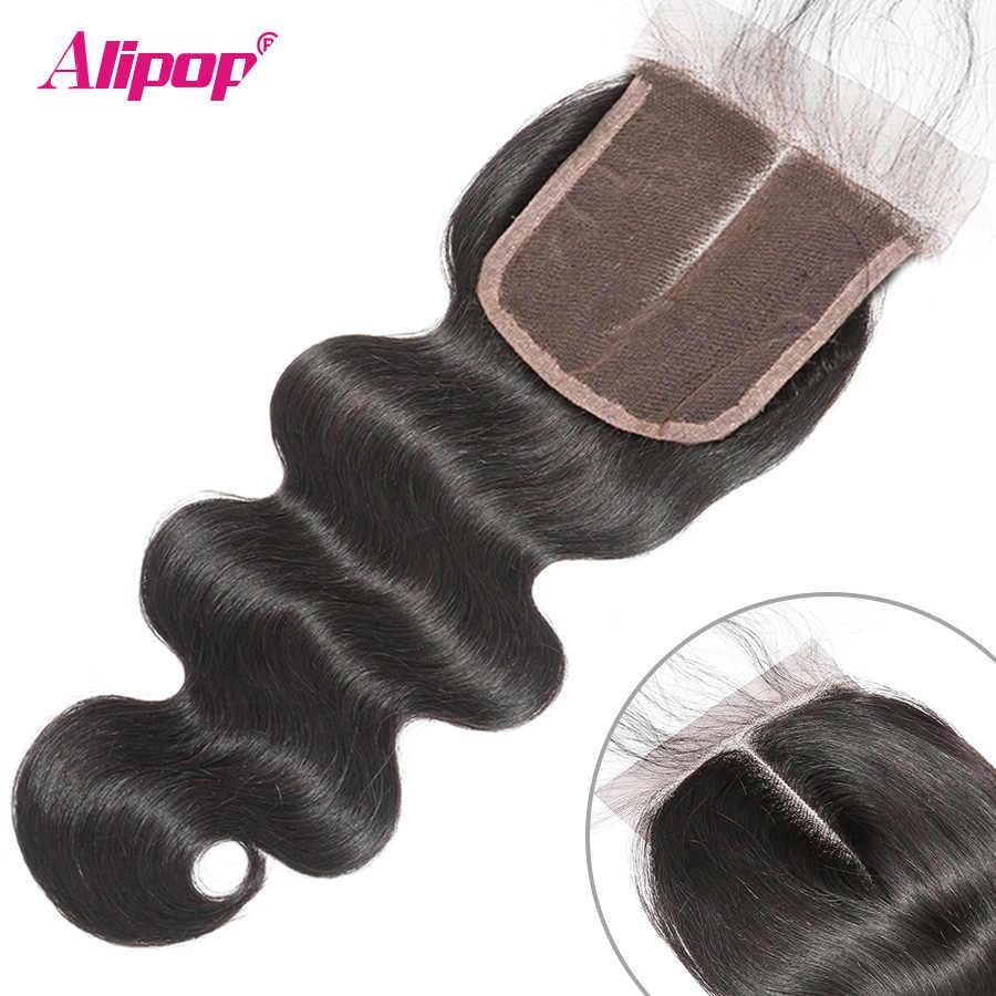 5x5 кружева закрытие бразильский волос на теле закрытие волна с волосы младенца ALIPOP Remy натуральные волосы Бесплатная Средний 2 три 3 Часть Закрытие