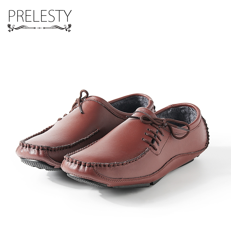 Prelesty Autumn Winter Genuine Leather Shoes Men Loafers Fur Warm Men Driving Casual Shoes Comfortable Sapato Masculino 2017 flats new arrival autumn winter casual men genuine leather loafers comfortable light driving shoes handmade moccasins shoes