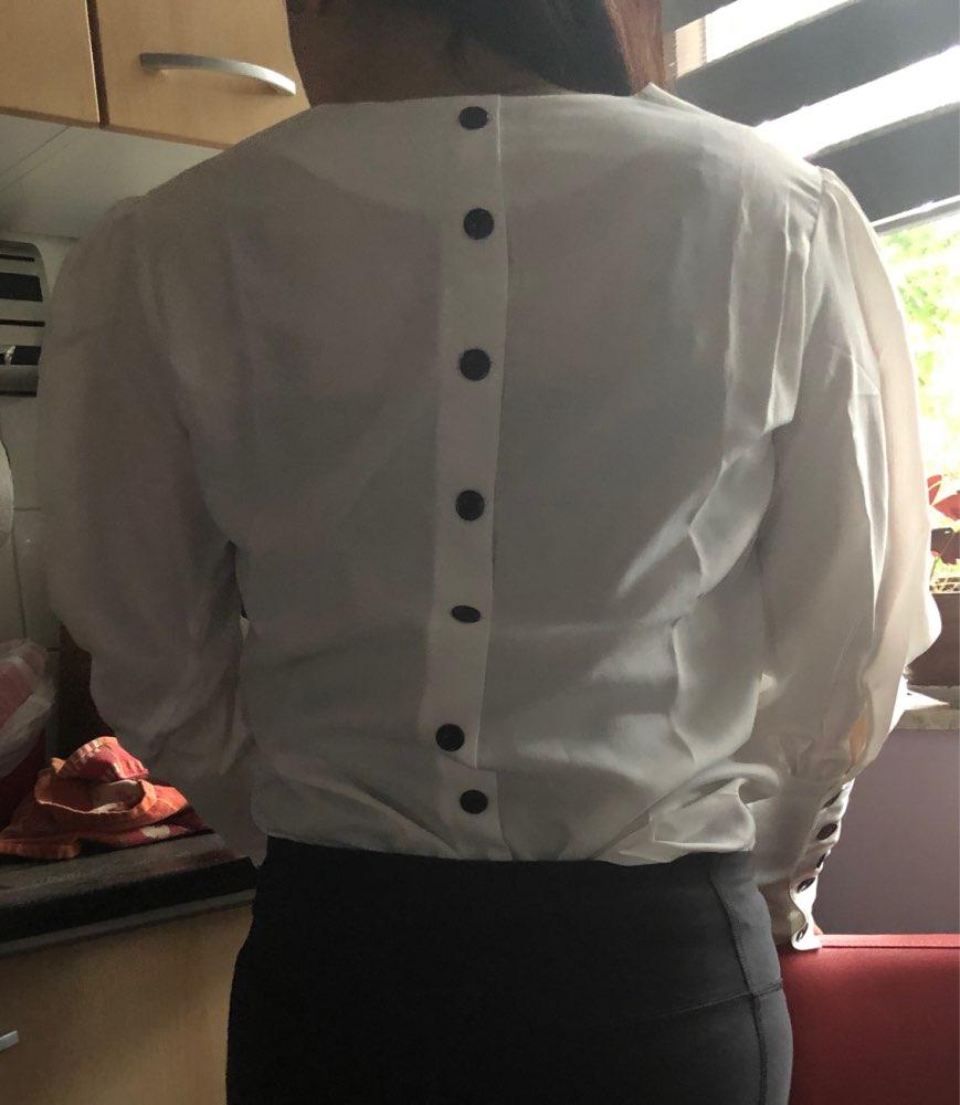 Puff Sleeve Women Blouse Shirt Button White V Neck Tops Spring Elegant Office Lady Streetwear Blusas Women Shirts photo review