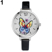 Women's Casual Faux Leather Band Butterfly Round Dial Wrist Watch Elegant Gift