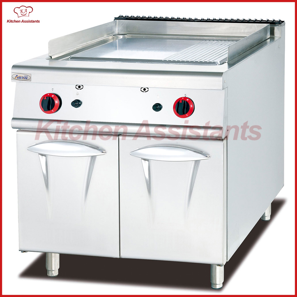 GH786 gas griddle with cabinet with 1/3 grooved