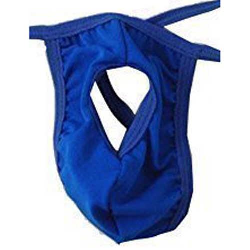 Nieuwe Mannen Sexy Open G-string T-back Pouch Thong Korte Blauw