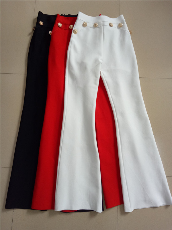 High Quality Flat Gold Button Full Flare Bandage Women Pants