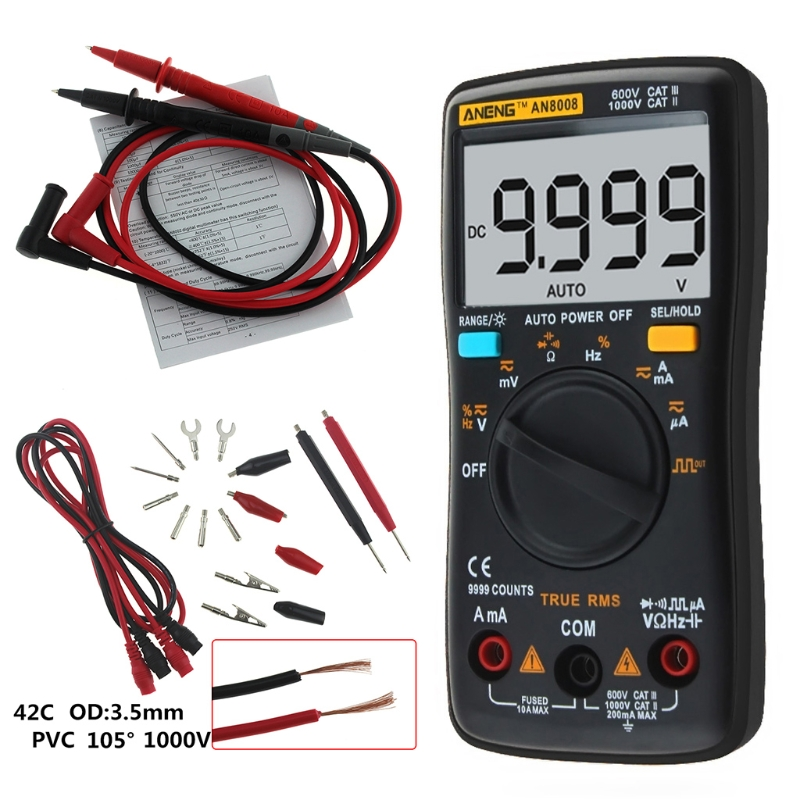 New AN8008 True-RMS Digital Multimeter 9999 counts Square Wave Backlight AC DC Voltage Ammeter Current Ohm Auto/Manual