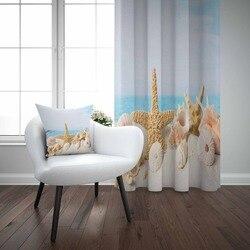 Innego tropikalna plaża piasek morze gwiazdy muszle błękitne niebo 3D druku pokój dzienny sypialnia panel okienny kurtyny łączą w sobie prezent poszewka na poduszkę