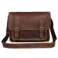 Man Cow Leather Messenger Bag Famous Brand New Fashion Male Crazy Horse Cross Body Shoulder Travel Ipad Business Bags For Men