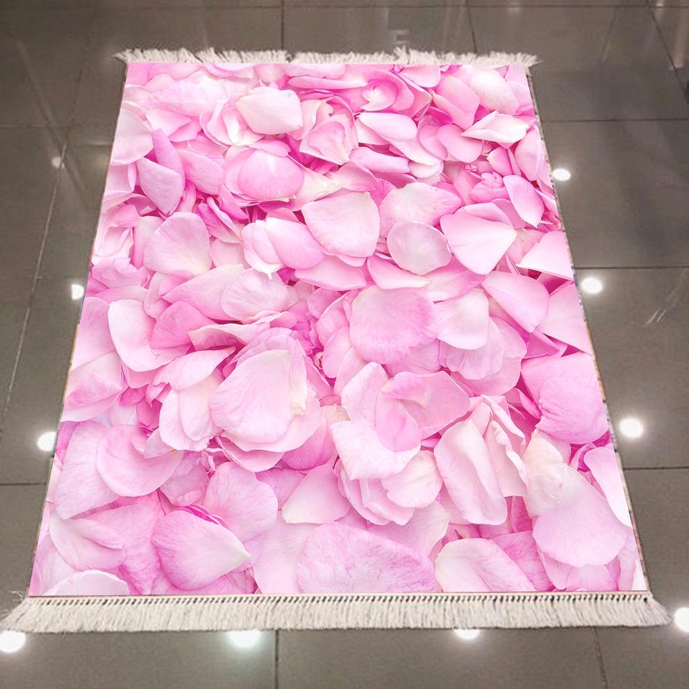 Else Pink White Roses Leaves Flowers Floral 3d Pattern Microfiber Print Anti Slip Back Washable Decorative Kilim Area Rug Carpet