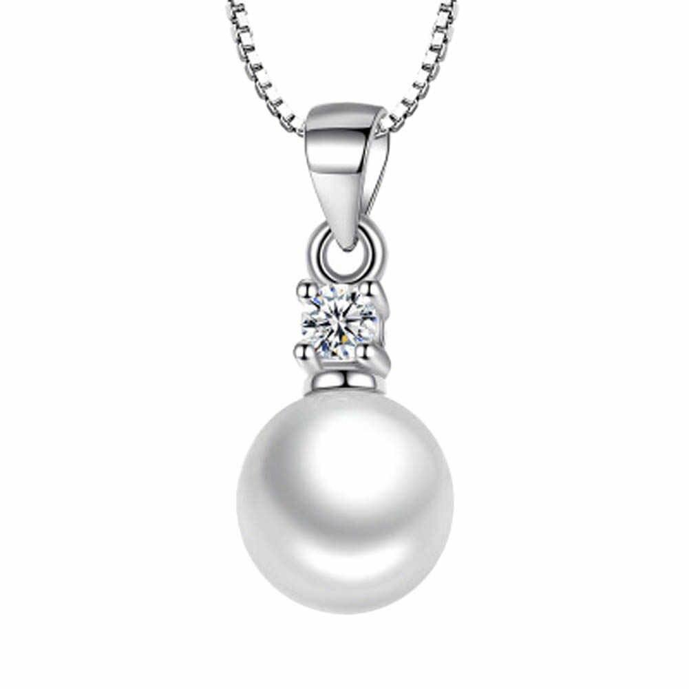SIN Cadena plata imitación perla colgante collar cadena larga collar joyería boda collar Accesorios