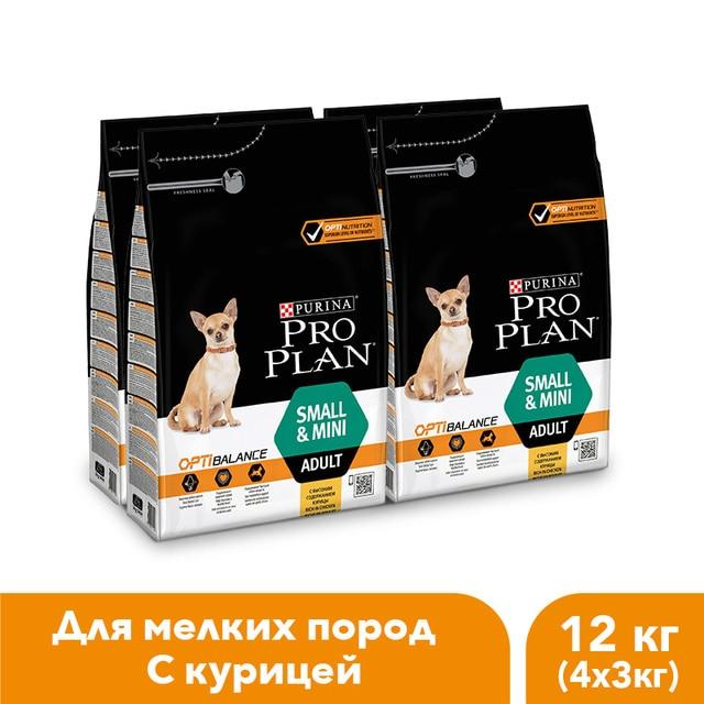 Сухой корм Pro Plan для взрослых собак мелких и карликовых пород с комплексом OPTIBALANCE® с высоким содержанием курицы. Пакет, 3 кг.