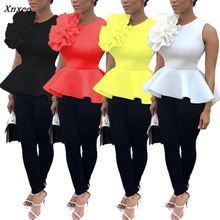 2018 Women Fashion Summer O-Neck Sleeveless Ruffles Flouncing Asymmetric Hem Slim Tops Blouse Xnxee недорого