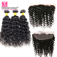 Dream Diana Peruvian Water Wave Bundles With Frontal 13x4 Lace Frontal Closure With Bundle Remy Human Hair Bundles With Frontal