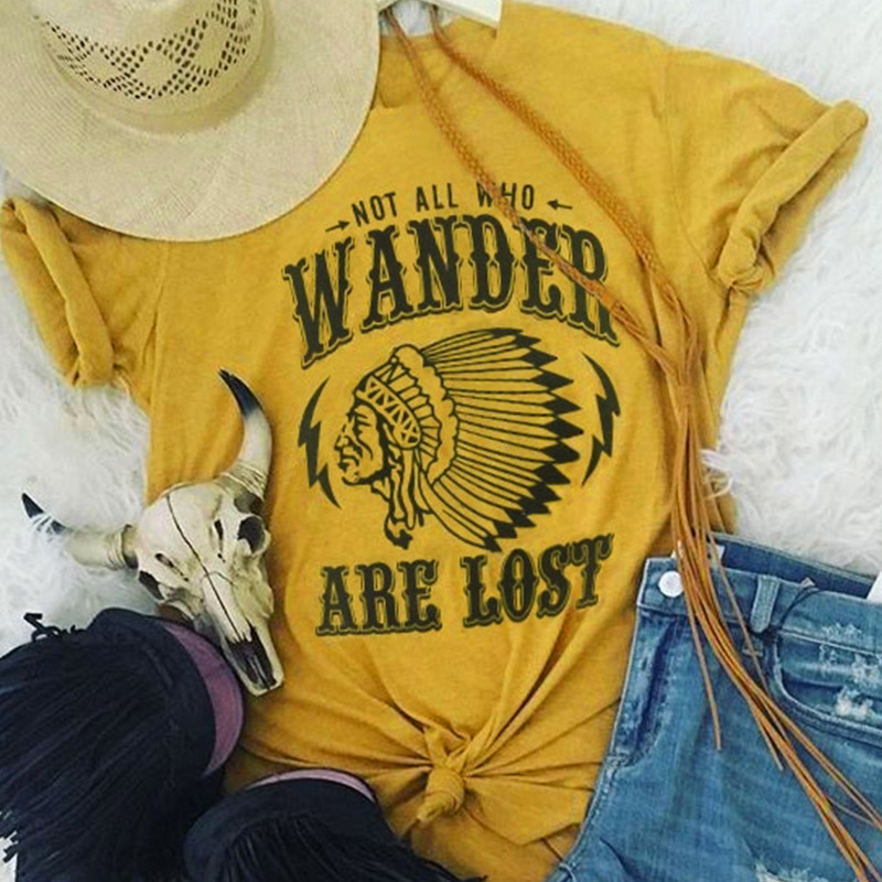 T-Shirt Women Short Sleeve Letter Character Print Not All Who Wander Are Lost 2018 Casual Female T-Shirt Fashion Ladies Tops Tee