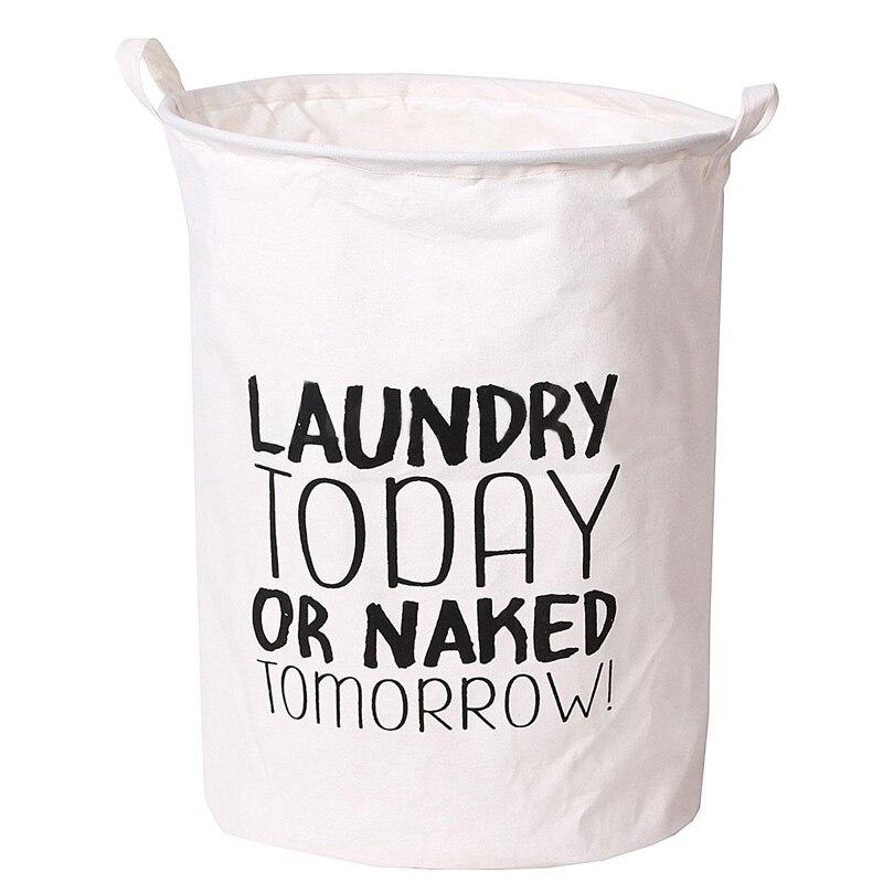Waterproof Foldable Linen Washing Clothes Laundry Basket Bag Hamper Bin Storage Cotton Linen Clothing Storage Bucket Laundry