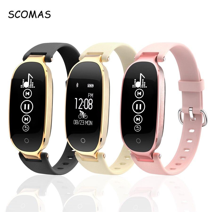 Reloj inteligente SCOMAS S3 para teléfono Android IOS Monitor de ritmo cardíaco rastreador de Fitness Bluetooth 4,0 reloj inteligente para mujer