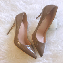 Free shipping fashion women Pumps Khaki Patent leather sexy lady Pointy toe high heels shoes size33-43 12cm 10cm 8cm party shoes free shipping fashion women pumps sexy lady black patent leather pointy toe high heels shoes size33 43 12cm 10cm 8cm party shoes