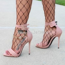 Chic Double Ankle Strap Women Shoes High Heels Cut-out Pink White Leather Gladiator Sandals Women Sexy Banquet Dress Shoes chic cut out fish noctilucent necklace for women