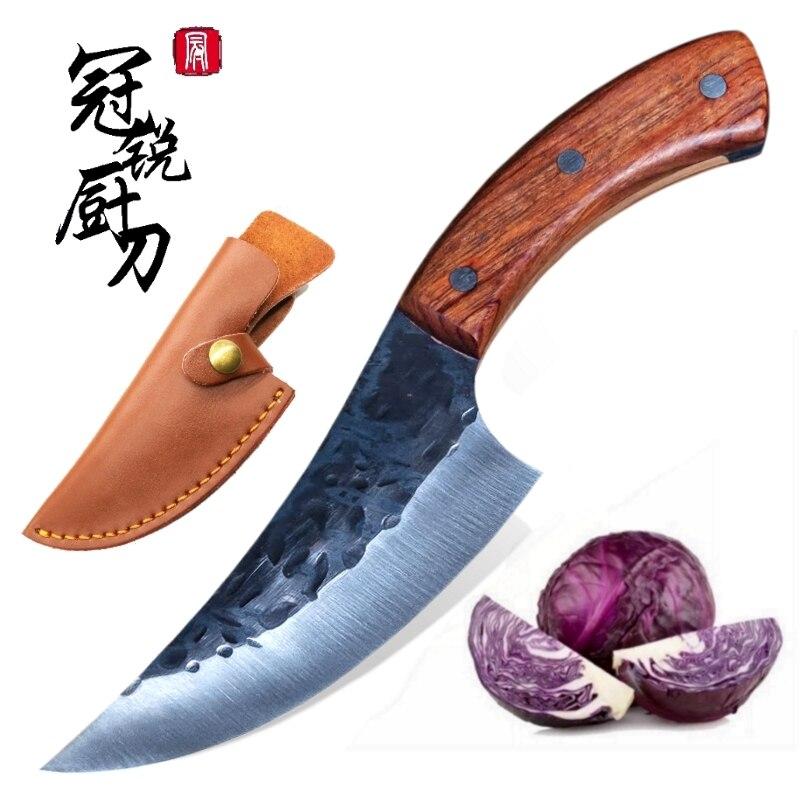 Couteau de chasse acier à haute teneur en carbone fait à la main désossage tranchage couteaux de cuisine BBQ Camping survie tactique EDC sauvetage outils de plein air