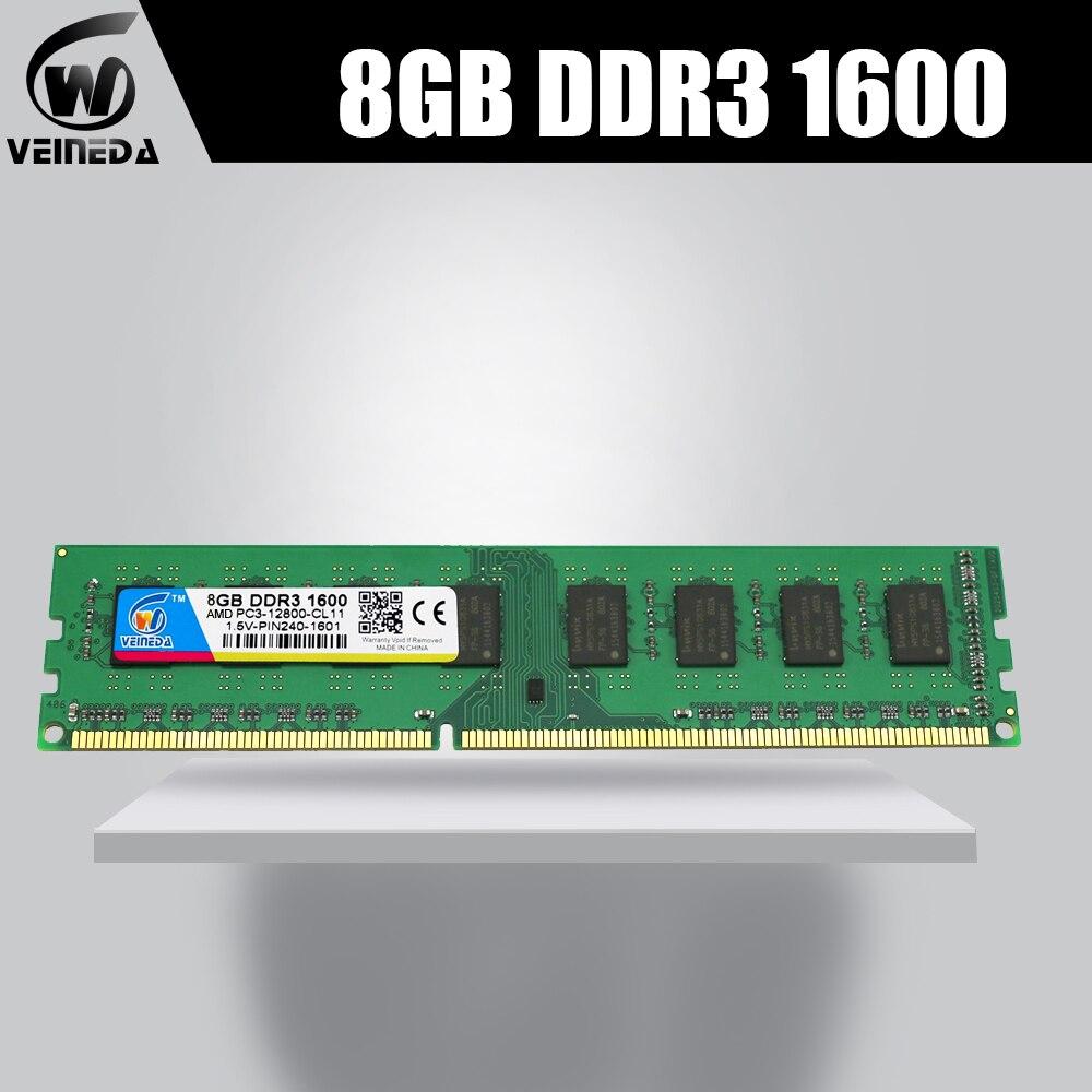 VEINEDA nouvelle ram ddr3 32 gb 4X8 gb memoria ram 1066 1333 ddr3 pour tous les PC3-12800 de bureau Intel AMD ddr3 1600 240pin non-ecc DIMM