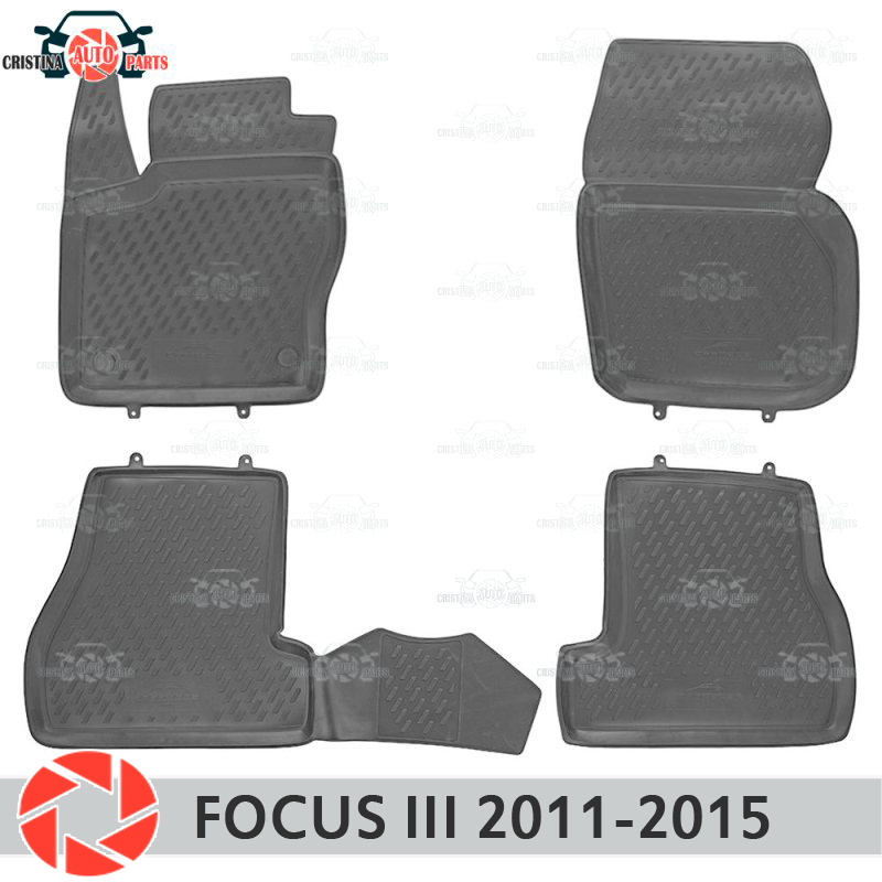 Floor mats for Ford Focus 3 2011-2015 rugs non slip polyurethane dirt protection interior car styling accessories цена в Москве и Питере