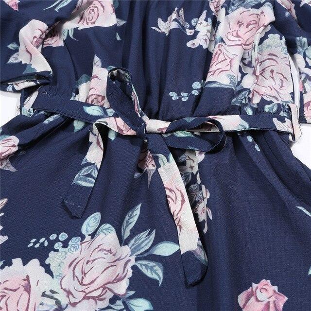 Mother Daughter Family Matching Outfits Off Shoulder Floral Dress Summer Chiffon Girl Women Boho Loose Dresses Sundress Z3 4