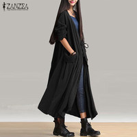 Plus Size ZANZEA Women Waterfall Long Sleeve Spring Autumn Loose Long Cardigan Coat Cotton Linen Casual